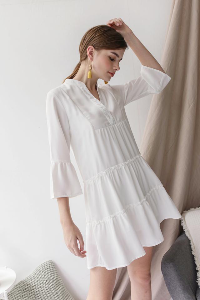 Dorina Babydoll Dress (White)