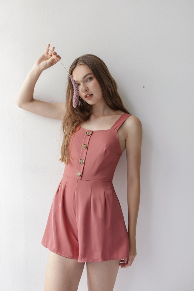 Lianne Button Romper (Dusty Rose)