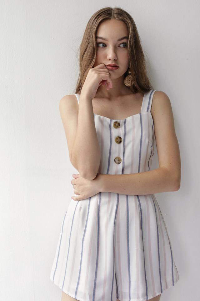 Lianne Button Romper (Stripes)