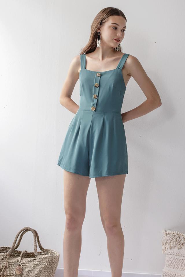 Lianne Button Romper (Cerulean)