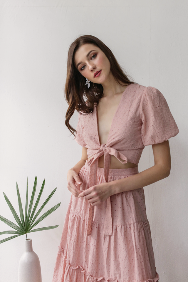 Anna Wrap Front Top (Pink Eyelet)