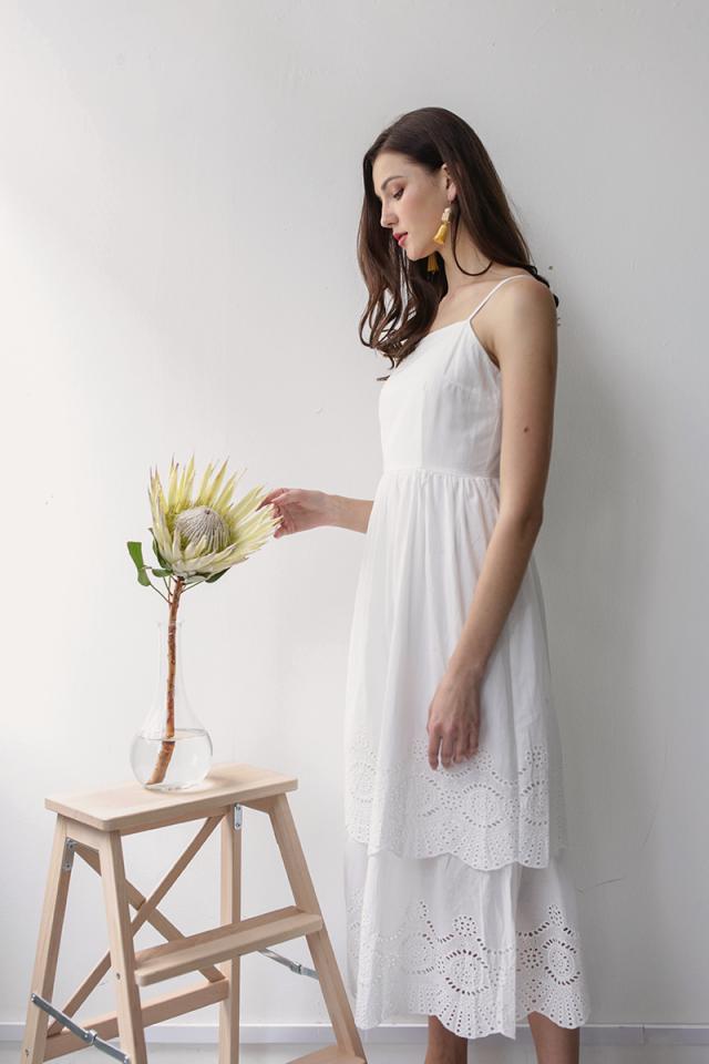Kim Tiered Dress (White Eyelet)