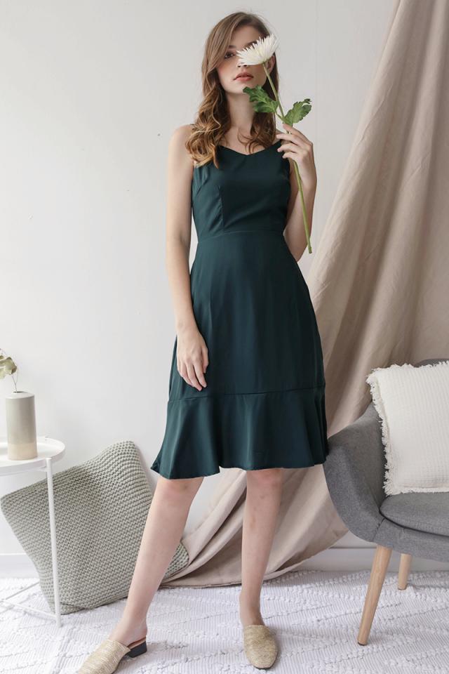 Sophia Drop Hem Dress (Forest Green)