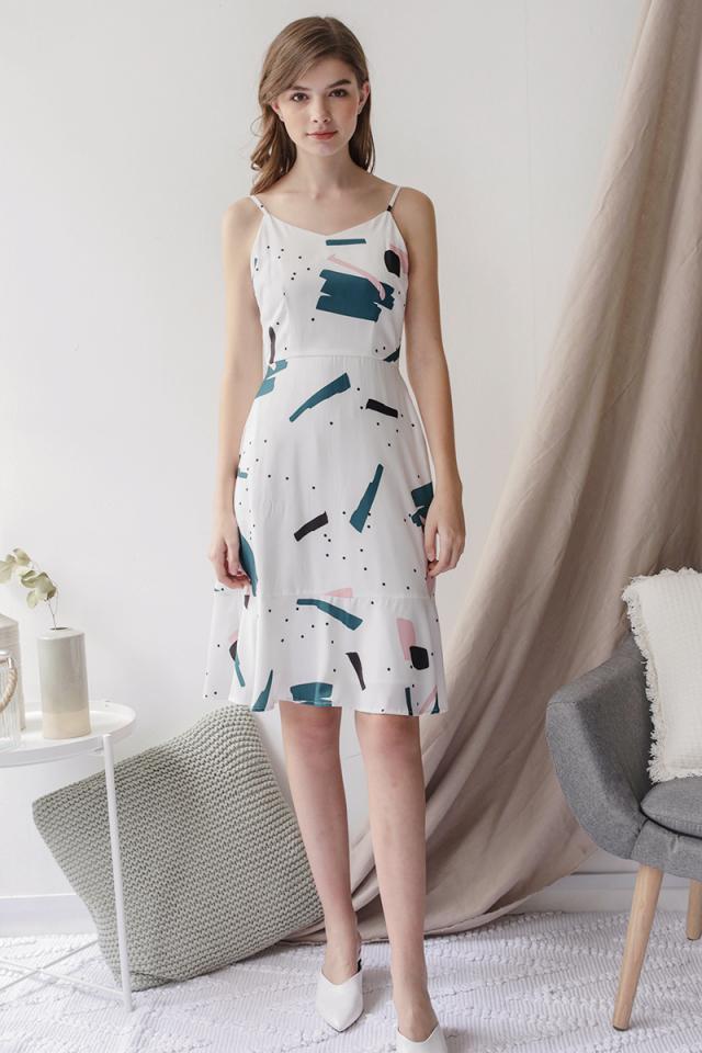 Sophia Drop Hem Dress (Abstract)