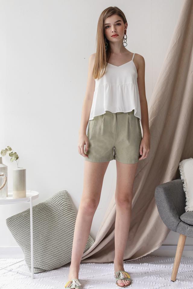 Oda Button Shorts (Sage Green)