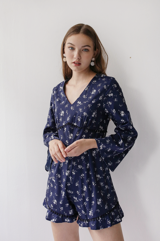 Jules Flare Sleeve Romper (Navy Florals)