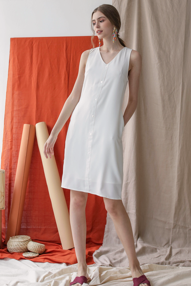 Lumi Button Dress (White)