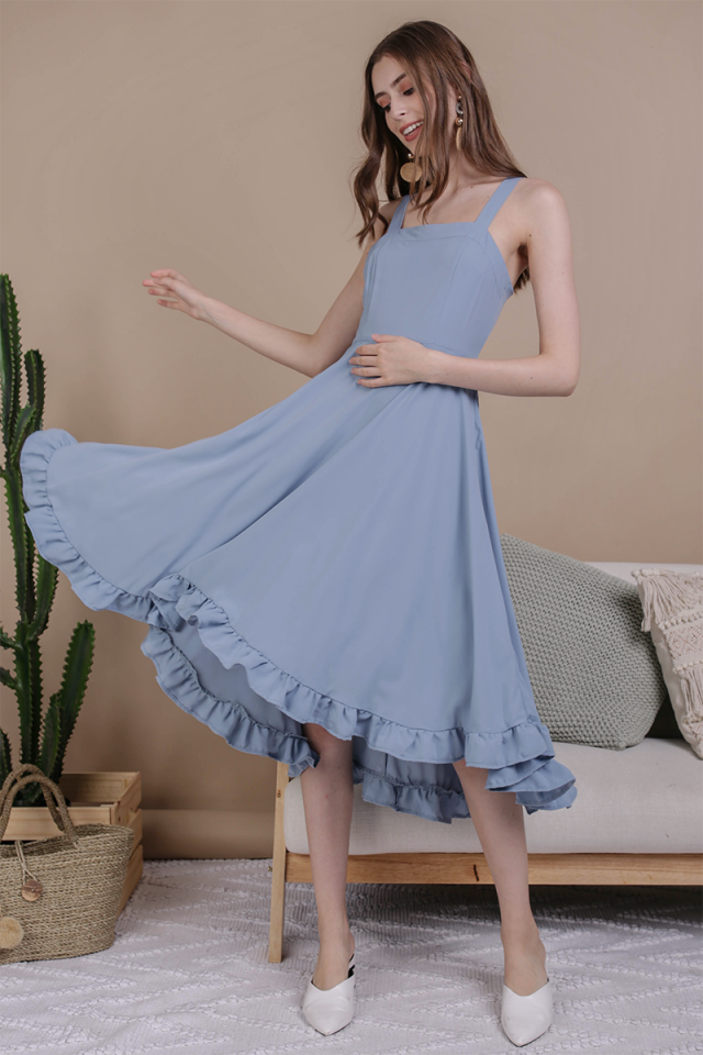 Lea Ruffles Hem Dress (Dusty Blue)