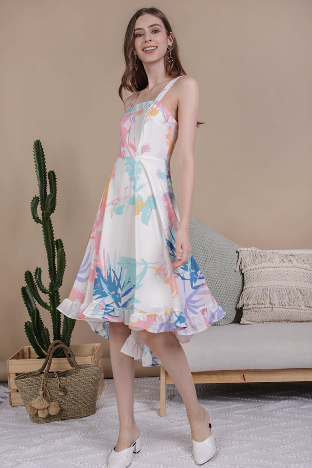 Lea Ruffles Hem Dress (Pastel Tropical)