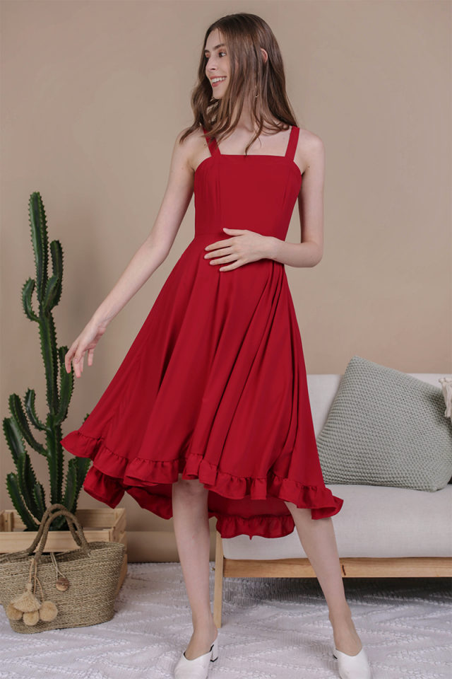 Lea Ruffles Hem Dress (Cherry)
