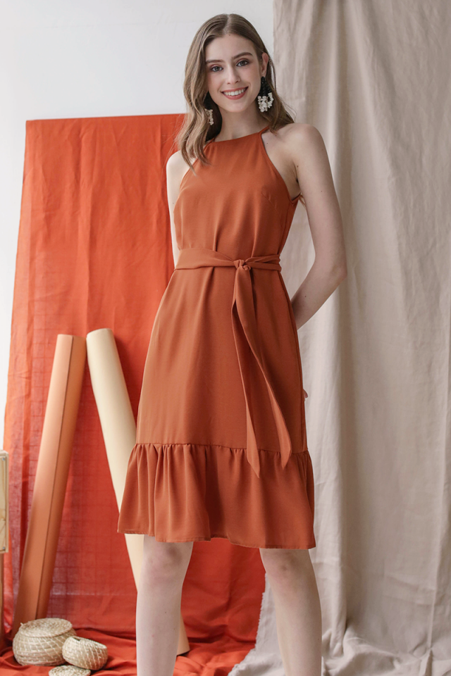 Gina Drop Hem Dress (Tangerine)