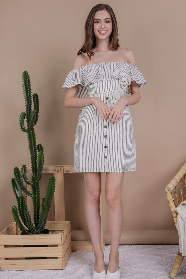 Viola Off Shoulder Dress (White Stripes)