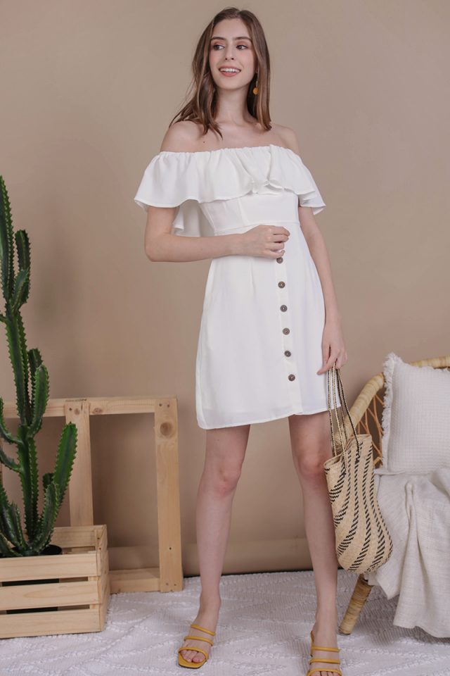Viola Off Shoulder Dress (White)