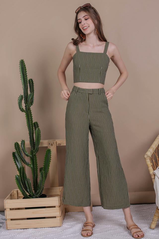 Jodi Tailored Pants (Olive Stripes)