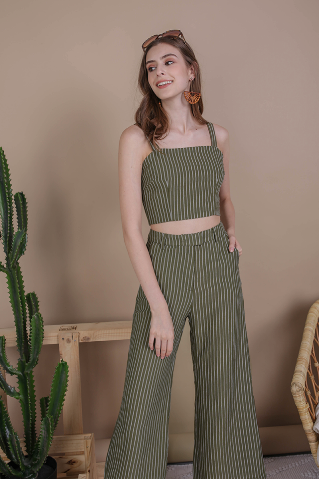 Nat Cropped Top (Olive Stripes)