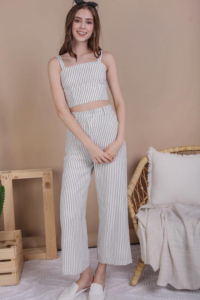 Jodi Tailored Pants (White Stripes)