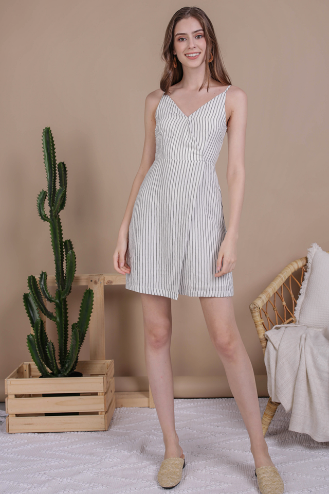 Sammy Wrap Front Dress (White Stripes)