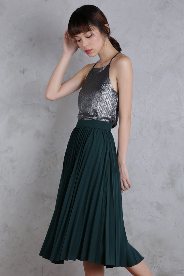 Courtney Pleated Midi Skirt (Forest Green)