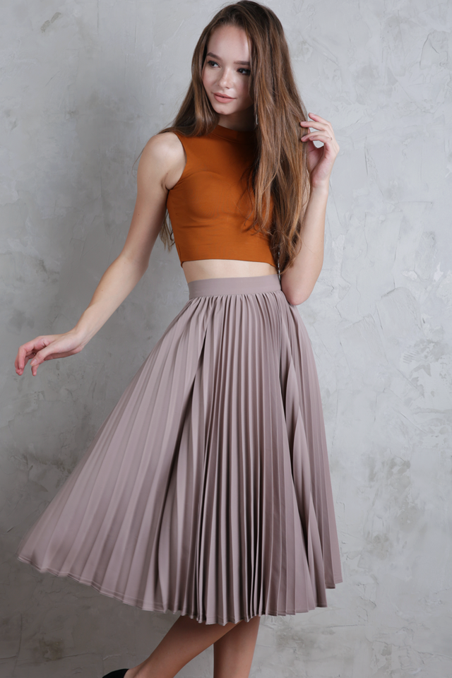 Courtney Pleated Midi Skirt (Clay)