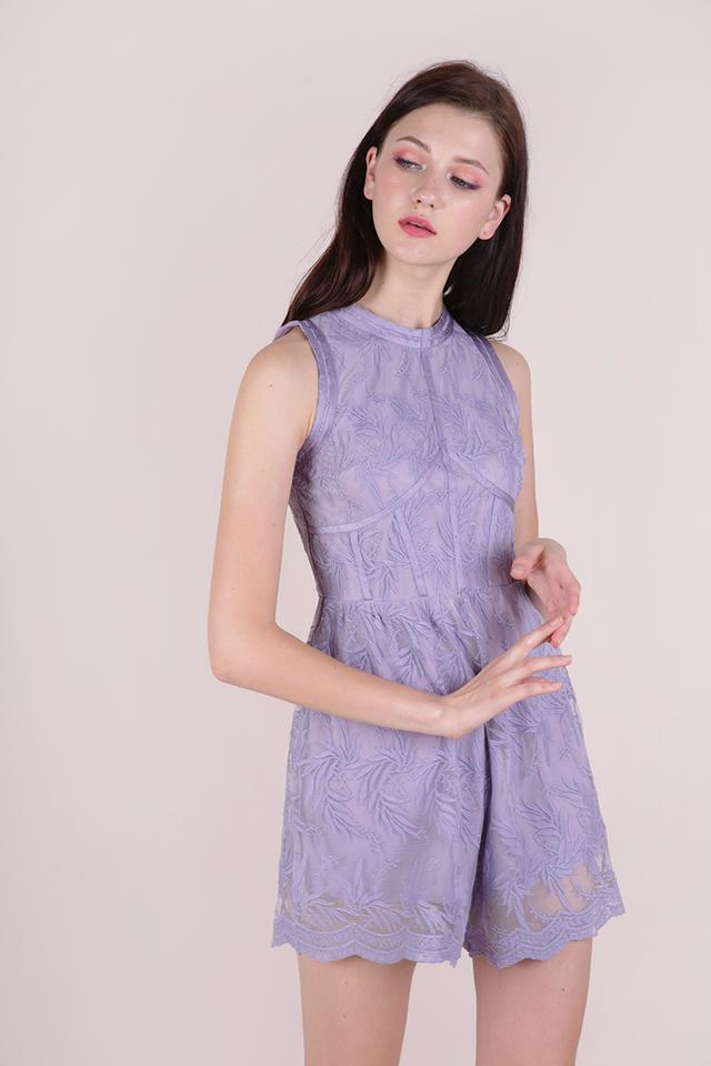 Kiko Mesh Embroidery Romper (Lilac)