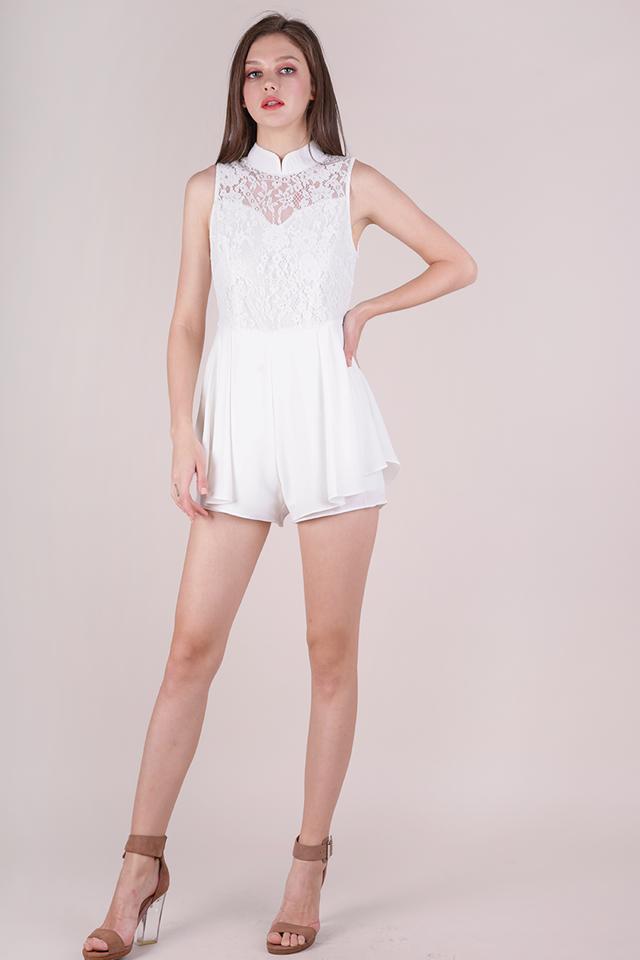 Hera Mandarin Collar Romper (White)