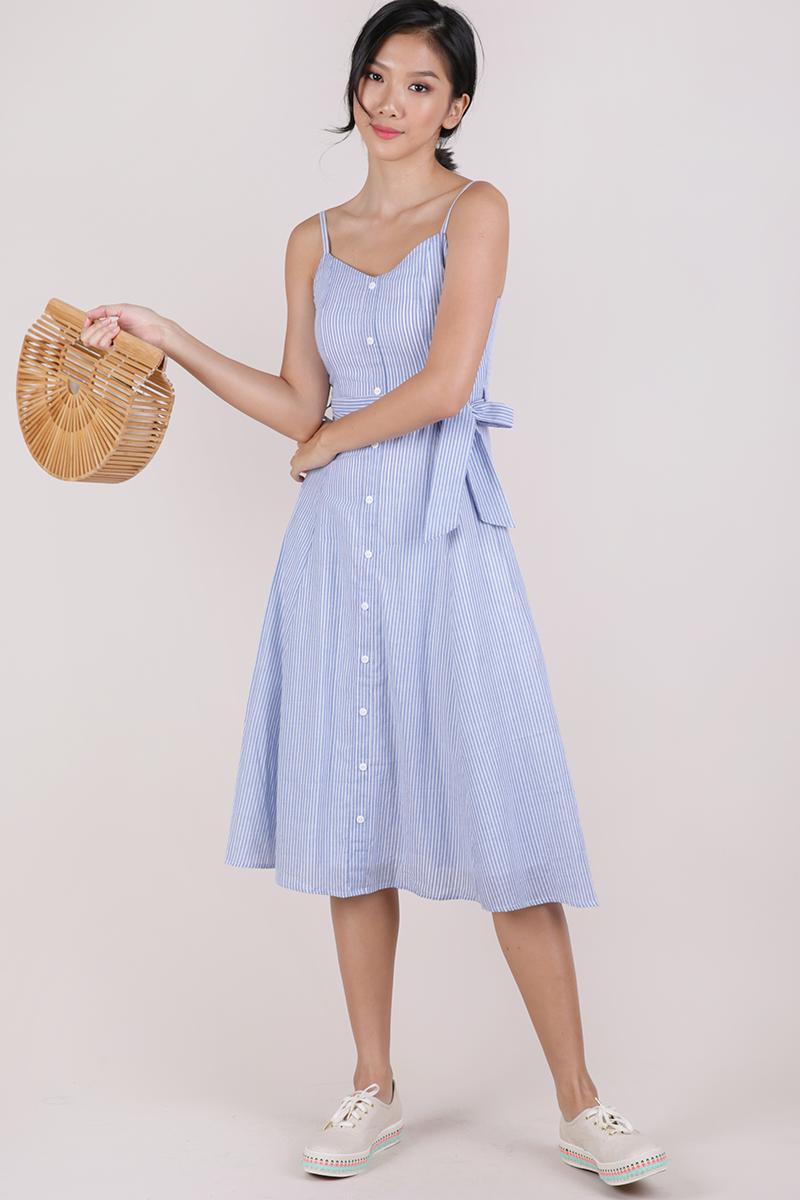 Izzy V Neck Midi Dress Light Blue Stripes The Tinsel Rack