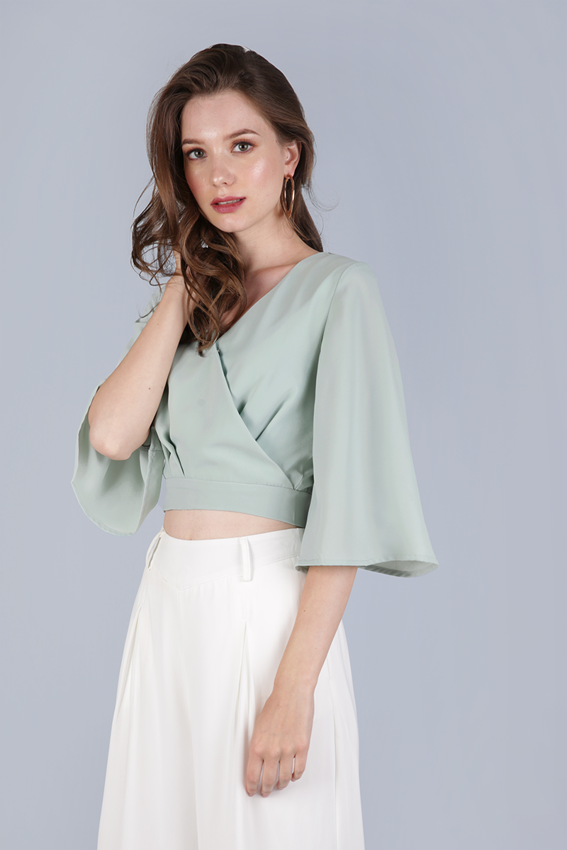 4c8b742347f74 Jordyn Flare Sleeve Top (Sage Green)