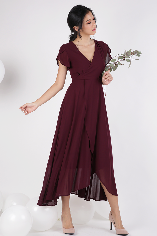 Batch 5- Aria Wrap Front Chiffon Maxi (Wine Red)