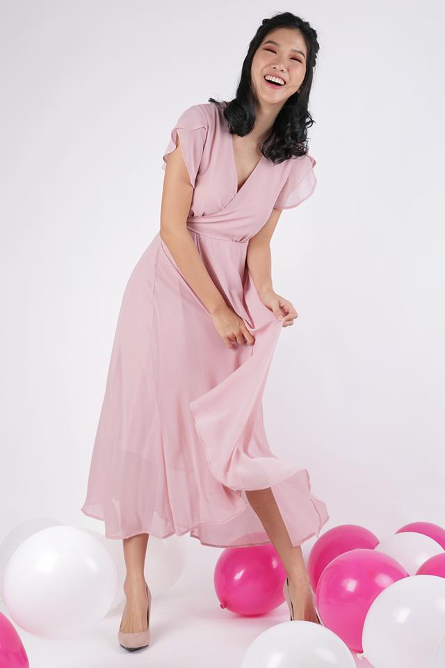 Batch 3- Aria Wrap Front Chiffon Maxi (Blush Pink)