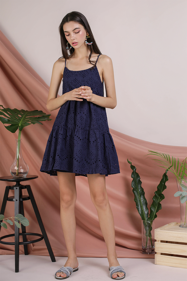 Emmy Tiered Spag Dress (Navy Eyelet)