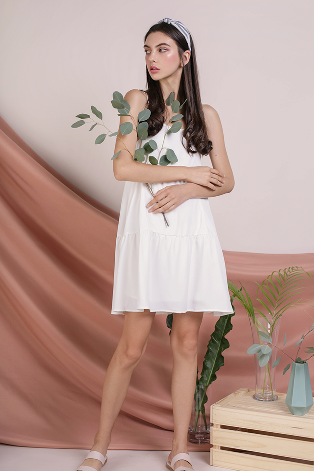 Emmy Tiered Spag Dress (White)