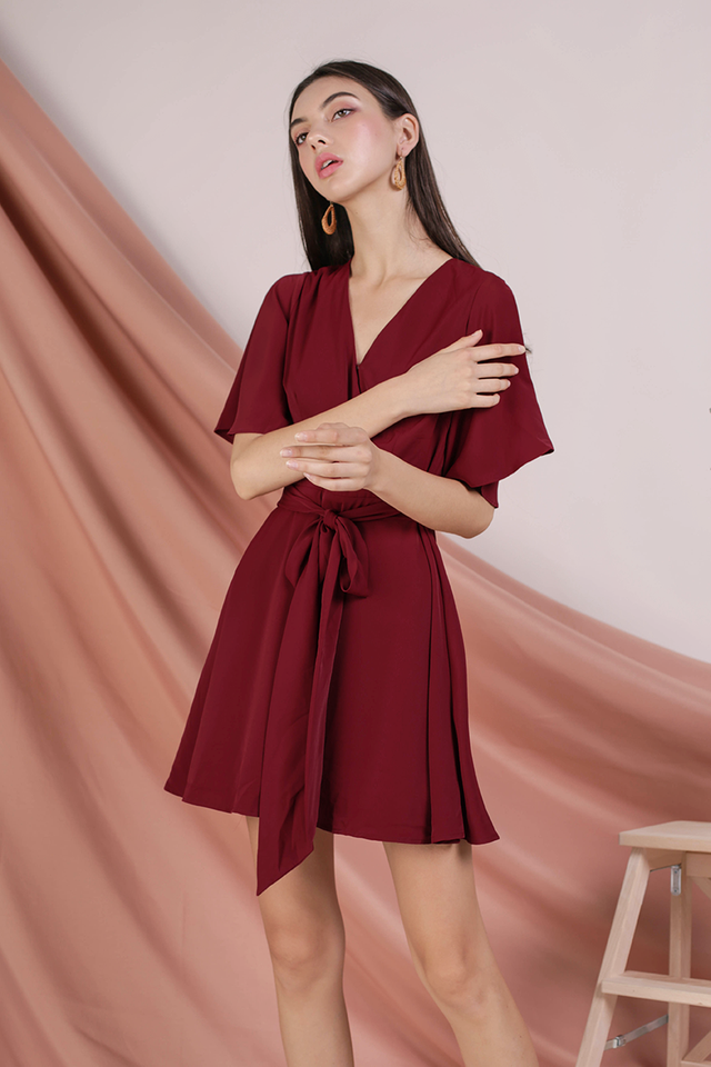 Izabela Flare Sleeve Dress (Rose)
