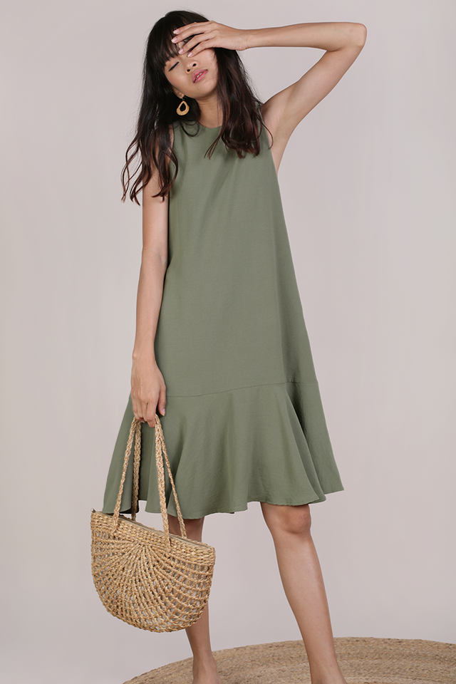 Jayne Drop Hem Dress (Muted Olive)