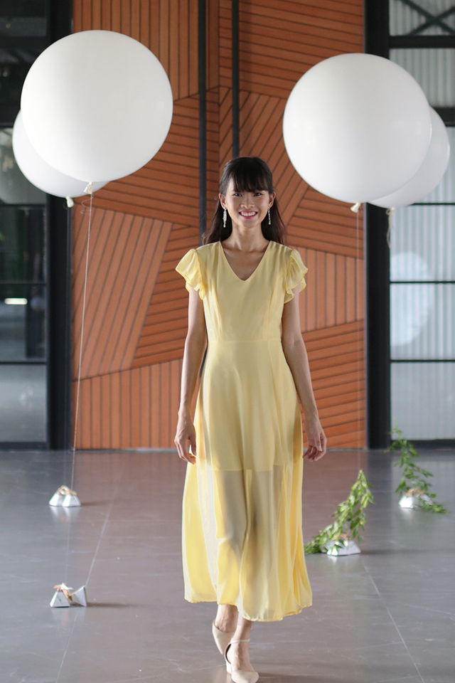 Sasha Ruffles Sleeve Maxi Dress (Daffodil)