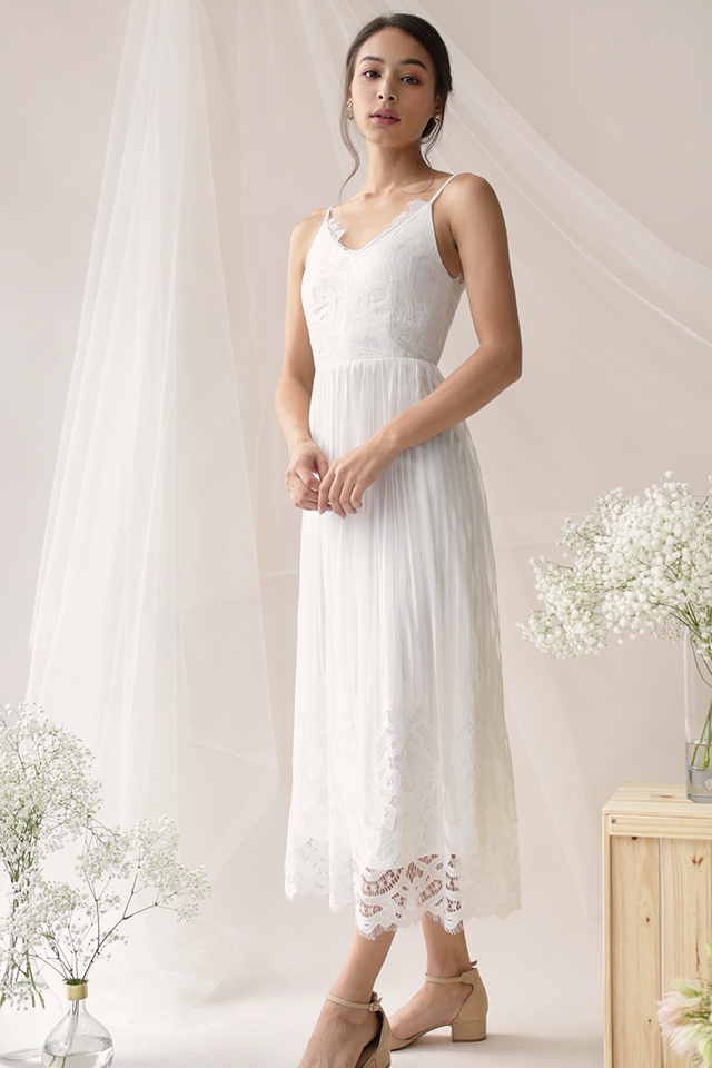 Halia Lace Maxi Dress (White)