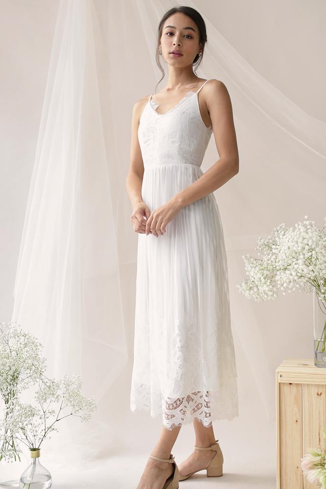 Halia Lace Maxi Dress (White)