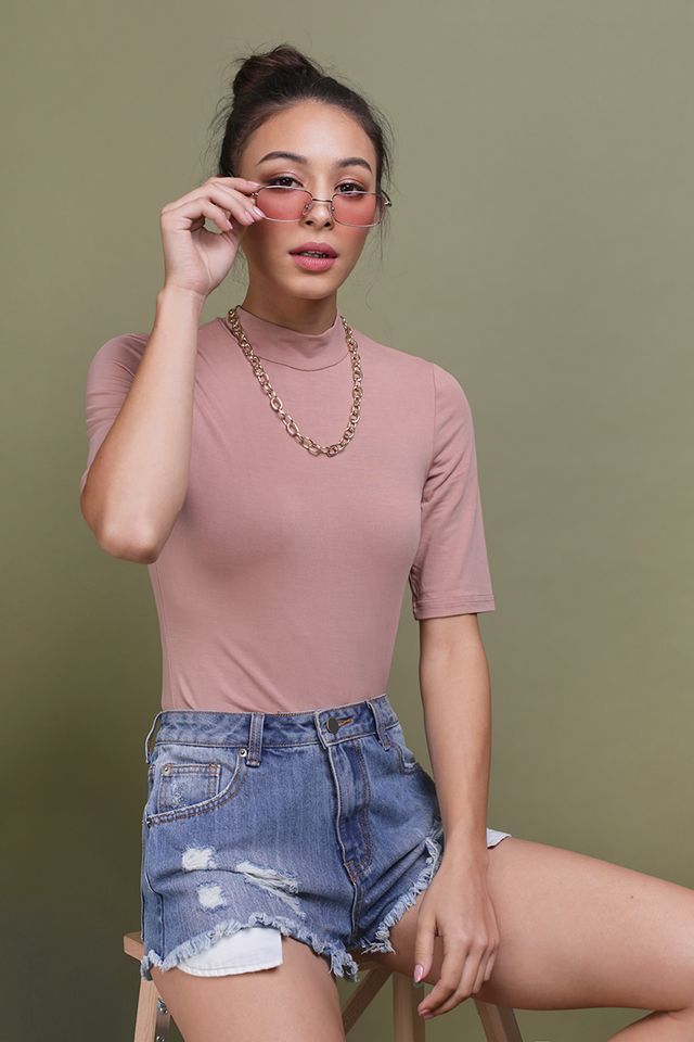 Eve High Neck Top (Dusty Pink)