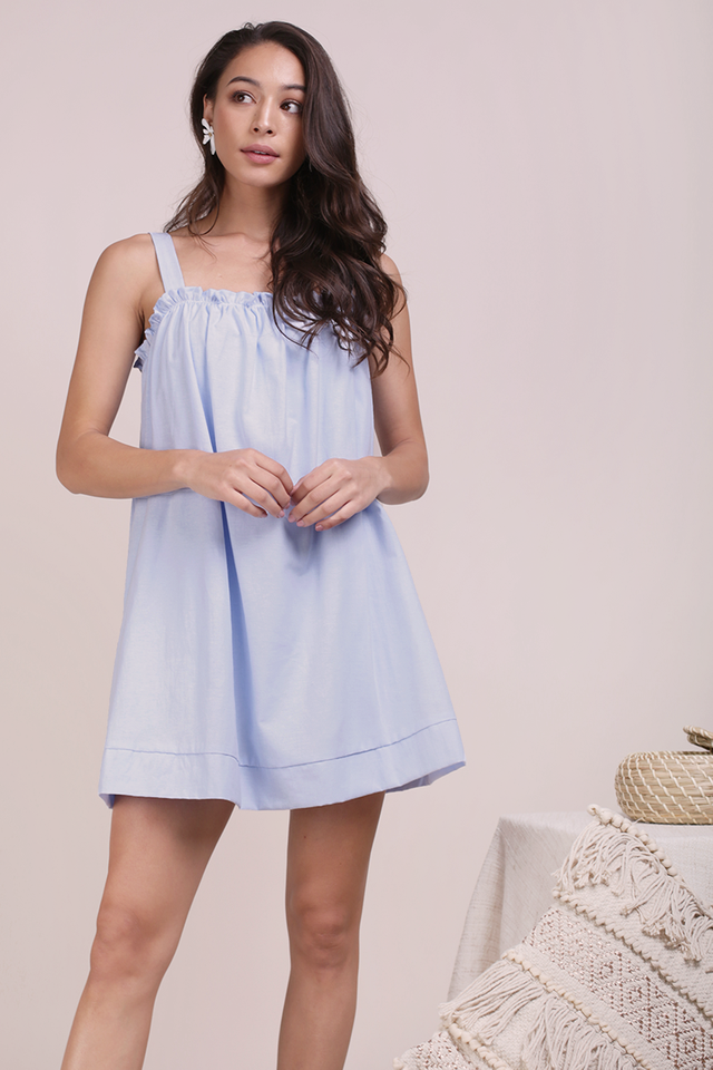 Skyla Ruffles Spag Dress (Light Blue)