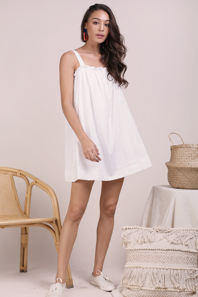 Skyla Ruffles Spag Dress (White)
