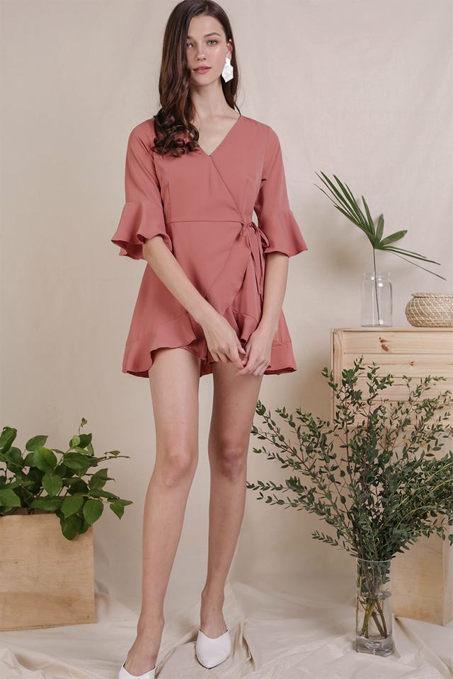Hyacinth Frilly Romper (Rosewood)