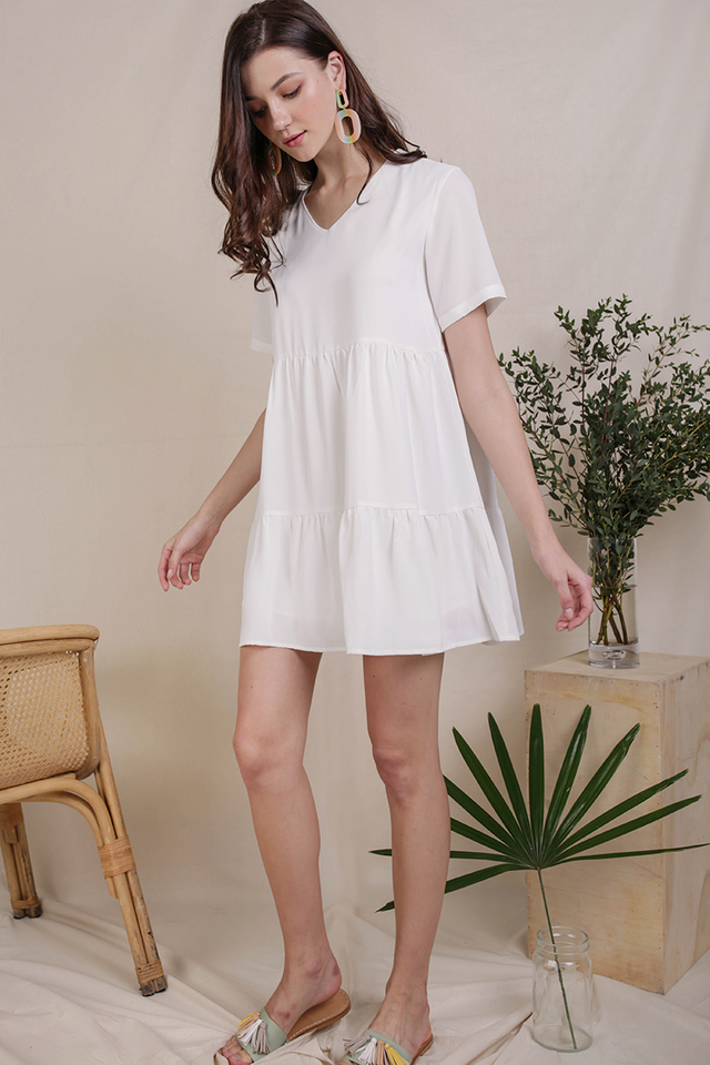 Bella Babydoll Dress (White)