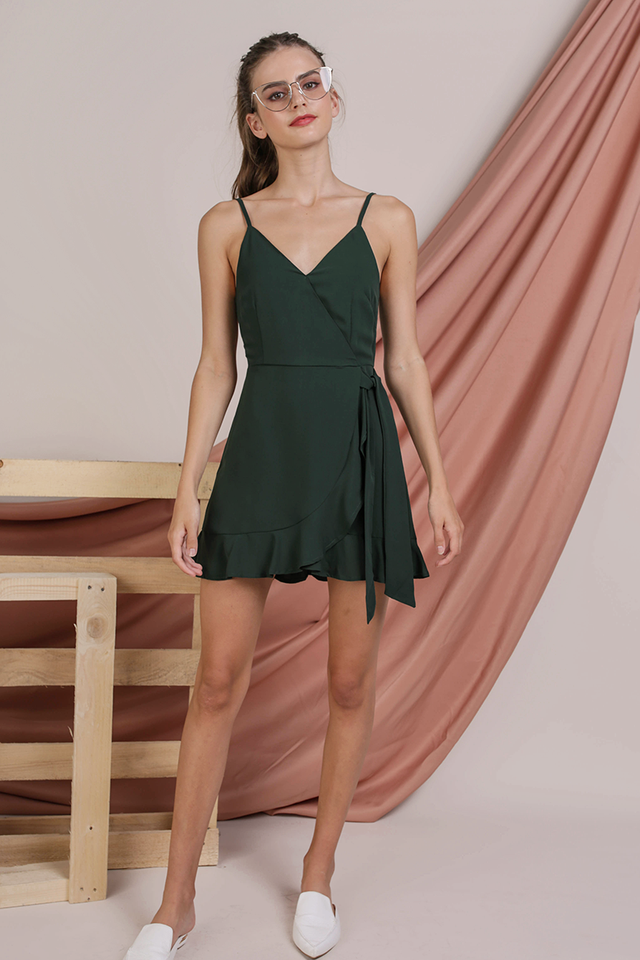 Gwen Wrap Front Romper (Forest Green)