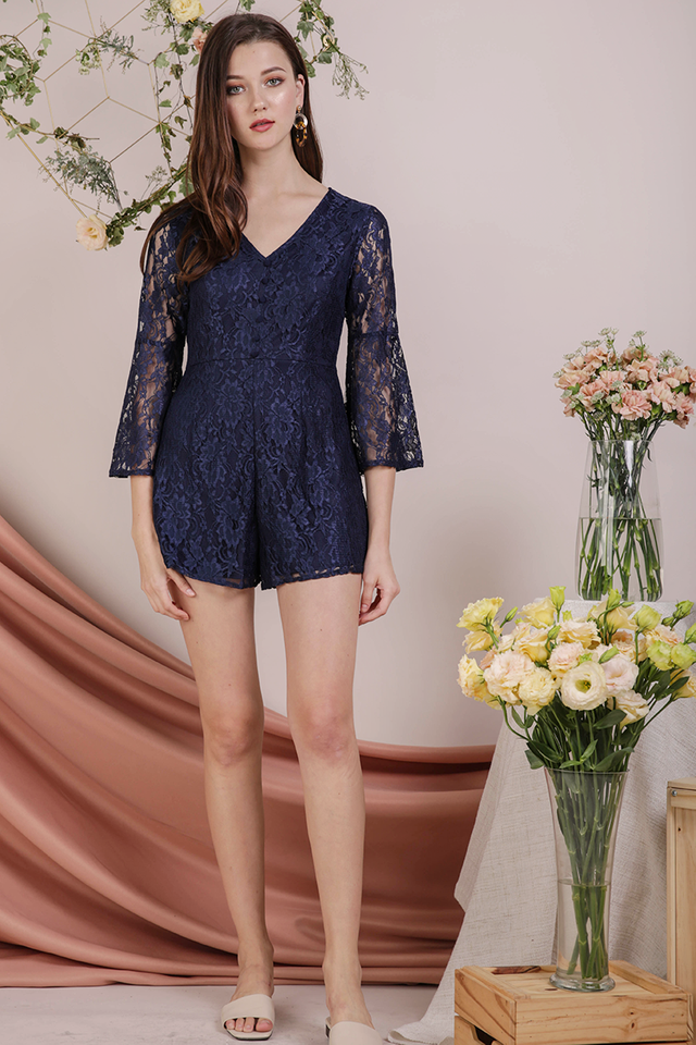 Mandy Lace Romper (Navy)