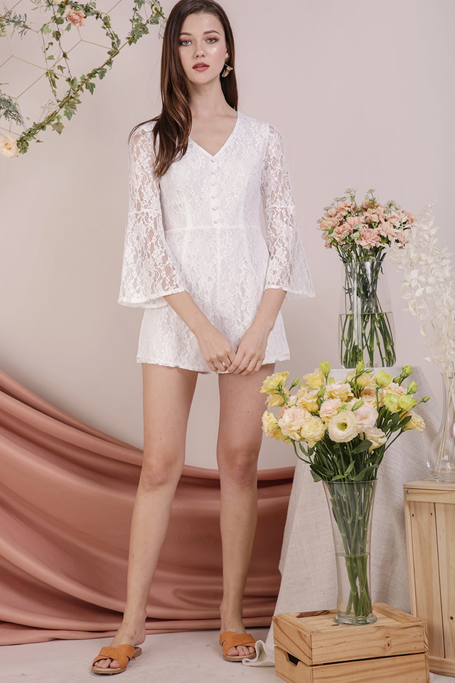 Mandy Lace Romper (White)