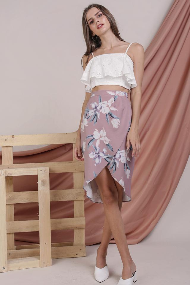 Claris Wrap Front Skirt (Mauve Lilies)