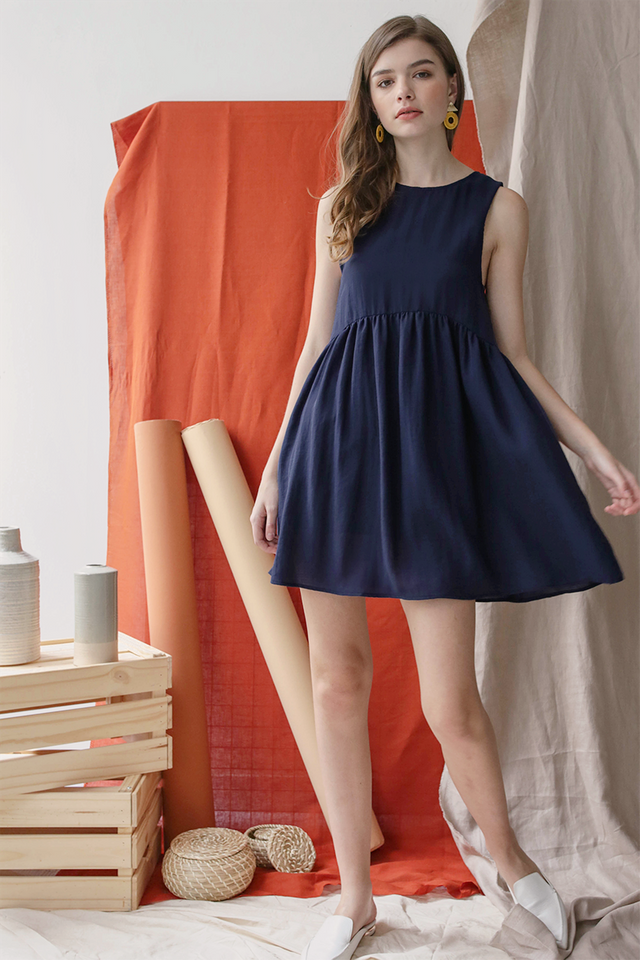 Marci Babydoll Dress (Navy)