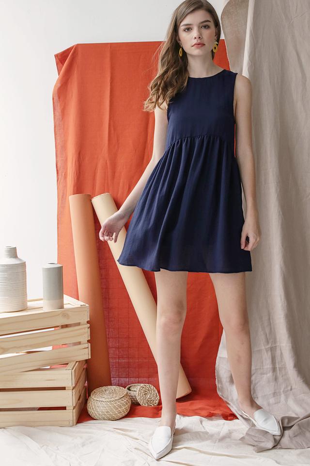 Marci Babydoll Dress (Navy)