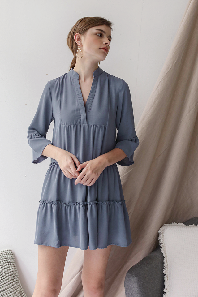 Dorina Babydoll Dress (Dusty Blue)