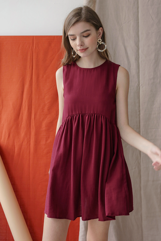 Marci Babydoll Dress (Maroon)