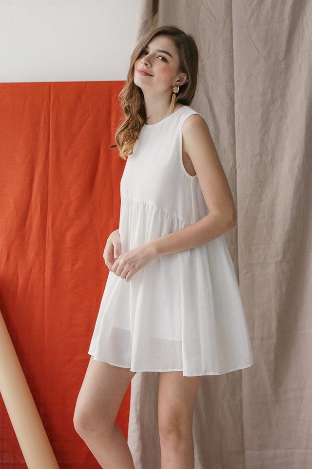 Marci Babydoll Dress (White)